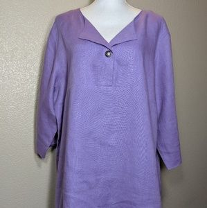 Coldwater Creek Tunic Top 100% Linen Lilac